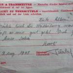 Lettre de Kurt à ses parents (09/08/45) : il ignore alors que sa mère est morte dans les bombardements de Dortmund